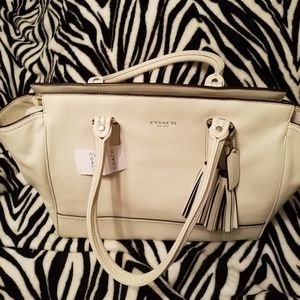 Coach White Purse With Tassels
